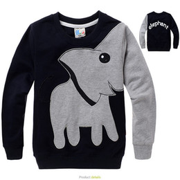 Wholesale Elephant Print Hoodie - Wholesale- Elephant Printed Girls Boys Hoodies and Sweatshirts Cotton 3-10y Kids Clothing Children Hoodies for Kids Autumn Outfits FA084