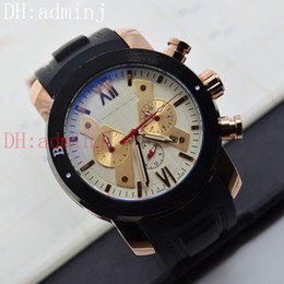 Wholesale Gold Hand Fans - free shipping! New man multi-functional double fan gold case luxury mechanical sports style automatic calendar watch all work!