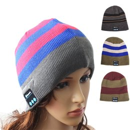 Wholesale Bluetooth Headset Manufacturers - Cross border exclusive supply manufacturers direct wireless Bluetooth headset cap, call music, knitted hat, striped Bluetooth hat