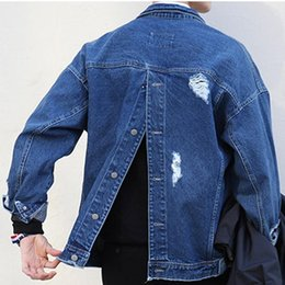 Wholesale Punk Japanese Fashion - 2016 denim jacket men hip hop men jacket punk back button ripered mens jackets Japanese Harajuku Joker Street denim jacket