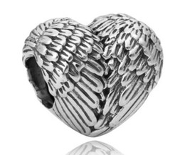 Wholesale European Feather - Wholesale 10pcs Heart Shaped Feather Wings 925 Silver Charm Bead European Charms Beads Fit Pandora Bracelets DIY Jewelry Christmas Xmas