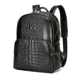 Wholesale Vintage Bag Packs - Men Leather Backpack Men Large Capacity Rucksack Shoulder School Bag 3D Crocodile Male Back Pack Mochila Escolar