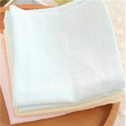 Wholesale Solid Color Baby Bibs - Wholesale- 2pcs lot Teague cotton double gauze handkerchief baby bibs small square solid color towel A-XBK-KSJ014-2