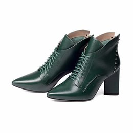 Wholesale Mature Ladies Women - cow leather pointed toe mature style high heel lace up boots winter shoes office lady rivets fashion ankle boots