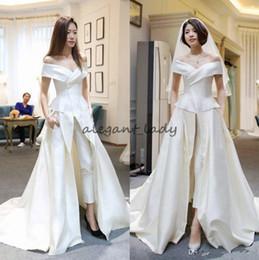 Wholesale Jumpsuit Slits - Two Pieces Jumpsuits Garment Wedding Dresses A Line Off The Shoulder With Pants Bridal Gowns Sweep Train Satin Overskirt Vestido De Novia