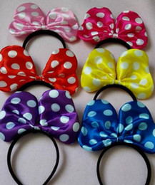 Wholesale Minnie Red Ears - 6 Color Children lovely ickey and Minnie dot mouse ears headband girl boy headband kids birthday party supplies decorations