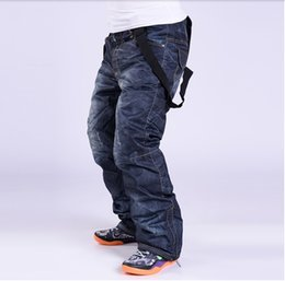 Wholesale Waterproof Jeans Men - Wholesale-Free shipping!Skis Trousers Unique Casual Denim Suspenders Ski Jeans Waterproof Breathable Warm Skiing and Snowboarding Pants