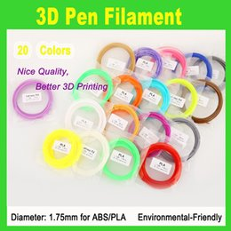 Hot sale PLA Filament 1.75mm 20 different colors 5 meters each color all 3D Pen Filament 3D Printer SGS Approval Material
