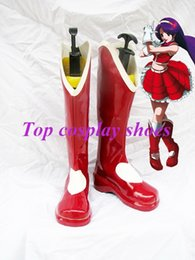 Wholesale Athena Halloween Costume - Wholesale-Freeshipping Game The King Of Fighters Athena Asamiya Cosplay Boots shoes with heart shape Custom made for Halloween Christmas
