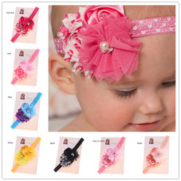 Wholesale Shabby Chic Lace Flowers - 16 pcs 1PCS Newborn Baby Hairbow Headband Heart Print Flower headband Shabby Chic Headband Valentines Headband Hair Accessories