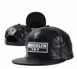 Wholesale Casual Winter Ball Caps - New Fashion Leather Plaid Baseball Cap Men and Women Brooklyn Letters Snapback Bone Gorras Hip Hop Cap Hats