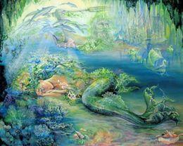 Wholesale Fantasy Embroidery - 5D diamond painting rhinestones fantasy Undersea Mermaid Diamond embroidery beadwork crystal decoration wedding gift 50x40cm HWB-933