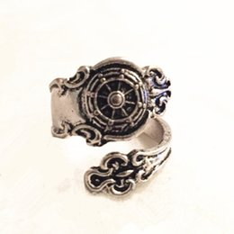 Wholesale Nautical Wheels - Free shipping Ship Wheel Spoon Ring - ancient Silver Nautical Ships Ring Steam punk Finger or Thumb ring