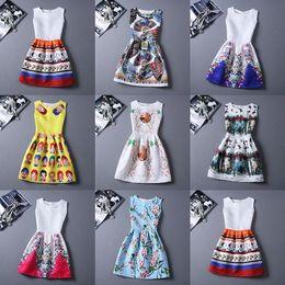 Wholesale Digital Print Vintage Dress - 2016 European style retro package Plus Size Women's Digital Print Sleeveless Vest Dress Vintage O-neck Vestido De Festa Women Summer Dress