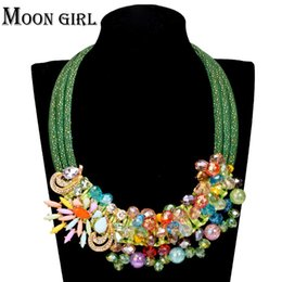 Wholesale Cubic Zirconia Tennis Necklaces - 100% Crystal flower statement necklace classic New design fashion Bohemia jewelry display Rope Chain Choker necklace for women