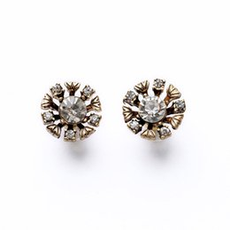 Wholesale Cheap White Gold Plated Sales - 5Pairs Hot Sale Fashion Women Jewelry Retro Cheap Price Vintage Style Small Drill Stones Stud Earrings