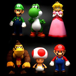 Wholesale Super Mario Pvc - 6PCS Set Super Mario Action Figures Collection GCA Brothers Mini Party Figures Peach Toad Luigi Yoshi Donkey Kong PVC Action Figures Toy