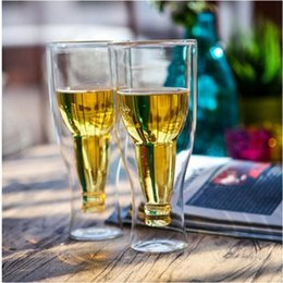 Wholesale Double Wall Glass Bottle - Creative Upside Down Double Wall Inverted Beer Mug Beer Glass Drinking Bottle Beer Steins Party Bar Drinkware OOA2700