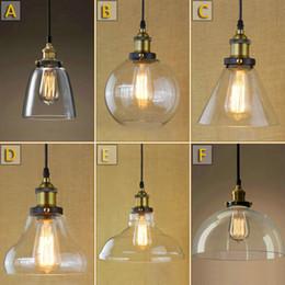 Wholesale Iron European Chandeliers - Edison Vintage Pendant Lamp Loft Wrought Iron Chandeliers Dining room Glass Pendant Light Retro Hanging Lamp European Indoor Lighting 6