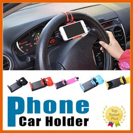 Wholesale Pda Clip - Car Steering Wheel Mobile Phone Holder Bracket Cellphone Holder Clip Mount For iphone 6s 6 7 plus Sumsung s7 J5 LG G5
