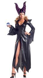 Оптовая продажа-Maleficent темный косплей костюм черная магия Adlut сексуальный черный Хэллоуин костюмы от Поставщики сексуальные спортивные дни в косплей