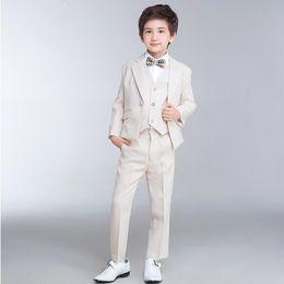Wholesale Men Suit Color Chart - High quality custom three-piece suit boy formal suit elegant fashion show thin man suit a grain of buckle pure color lapels suit