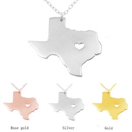 Wholesale Stainless Steel Personalized Necklace - Heart Texas state map Necklaces statement Necklaces jewelry Personalized Stainless steel pendant necklace State Charm map jewelry