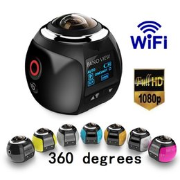 Wholesale Panoramic Camera - New V1 360 degree panoramic sports camera mini 3D wifi sports DV 4K full HD 30m waterproof outdoor action video cameras With Retail Package