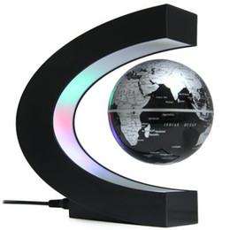 Wholesale Levitation Magic - C Shape LED World Map Floating Globe Magnetic Levitation Light Antigravity magic novel light Xmas Birthday Gift Home Decor E5M1+B
