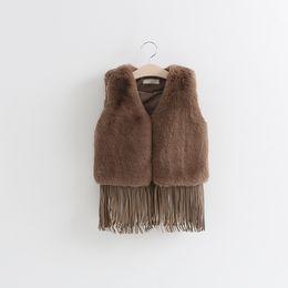 Wholesale Wholesale Faux Fur Long Vest - Baby Girl Long Tassels Faux Fur Waistcoat Top Quality Boutique Clothing Fashion Waistcoat Winter Baby Waistcoat Vest Winter Coat Outwea D147