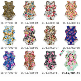 Wholesale Vintage Boys Clothing - Kids Baby Girls One Piece Romper New Arrival Vintage Floral Jumpsuit Bodysuit with Free Headbands Clothing Sets