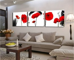 Wholesale Cheap Wall Art Paintings -  Red Poppies Flower 3 Piece Wall Art Canvas Prints Cheap Modern Paintings Wall Pictures for Living Room (Frameless)