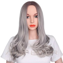 Wholesale Blond Wavy Wigs - blond 26 AISI 26 inch Blonde Ombre Wig Synthetic Long Wavy Natural