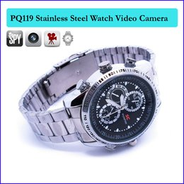 Wholesale Spy Stainless Watches - 8GB memory Built-in wrist watch hidden camera sport watch camera Stainless steel metal spy camera recorder camcorder MINI DV DVR PQ119