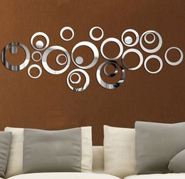 Wholesale Wall Stickers Ring - 2017 Direct Selling New Arrival 3D Sticker Modern Acrylic Gold Silver Ring Mirror Stickers Wall Paper Diy Home Decor Gift