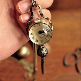 Wholesale Ball Pocket Watch Pendant Necklace - Wholesale- Necklace Chain Crystal Ball Pendant Pocket Watch Retro Antique Bronze Christmas Gift For Women Girlfriend