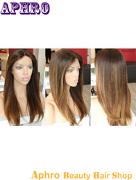 Wholesale Long Half Wig Human Hair - Ombre Blonde Lace Front Brazilian Hair Wigs Glueless Human Hair Silk Top Full Lace Wigs 130% Density Brown Blonde Silky Straight Lace Wigs