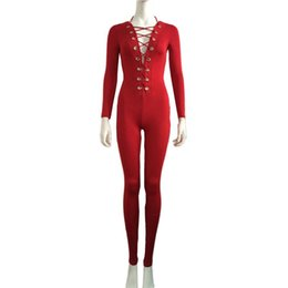 Wholesale Sexy Onesies For Adults - Free Shipping Fashion New Sexy Sexy Onesies Deep V Neck Lace Up Jumpsuit for Women W860427