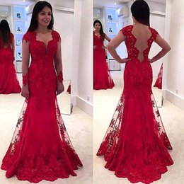 Wholesale Gorgeous Elegant Evening Long Dresses - 2017 Gorgeous Red Lace Mermaid Prom Dresses Long Sleeves Sweetheart Sheer Appliques Elegant New Evening Party Gowns with Sweep Train