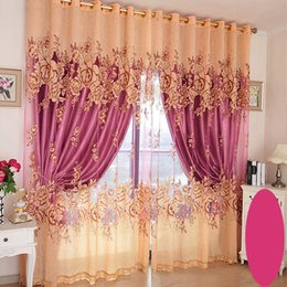 Wholesale Luxury Living Room Bedroom Curtain Shading Blackout Window Curtains Embroidered Peony Printing Pattern Curtain Per Meter Gauze