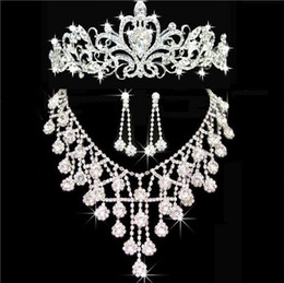 Wholesale Bridal Earrings Headpiece - 2017 New Cheap Bling Silver Wedding Accessories Bridal Tiaras Neceklace Earring Crystal Rhinestone Headpieces Women Hair Crowns Jewelry