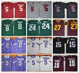 Wholesale College Football Jerseys Michigan - 2017 Men's Stanford 5 Christian McCaffrey Chippewas Antonio Brown 27 TCU Michigan State College football jerseys Wisconsin Stitched