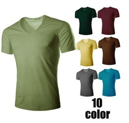 Wholesale Polo V Neck Tees - Hot Summer pure color muscle men polo shirts Seoul slim men t shirts Solid fashion V neck short sleeve men Casual Tees