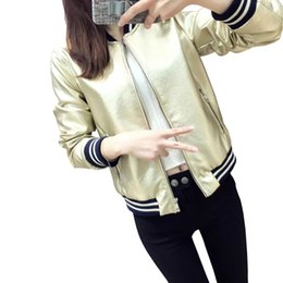 Wholesale Crop Leather Jacket Women - Wholesale- Women New Faux Leather Glossy Jacket Bling Bling Baseball Uniform Euro Style Crop Bomber Gold silver shortcoat Plus Size