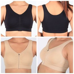 Wholesale Genie Pads - 2pcs set Genie Zip Padded Bra Comfortable Bra Seamless Breathable Viscose Stretch Front Closure Zipper Bra CCA6534 100set