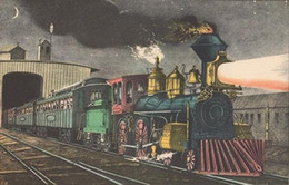 """Wholesale Oil Express - Currier & Ives """"NIGHT EXPRESS. THE START"""" TRAIN COLOR ART,Handpainted Landscape Art oil painting On High Quality Canvas size can customized"""