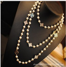 Wholesale Multilayer Sweater Chain - Crystal Four Leaf Clover Long Sweater Chain Necklace Love Fame Health Happiness Women Jewelry Pearl Beaded String Multilayer Pearl Necklace
