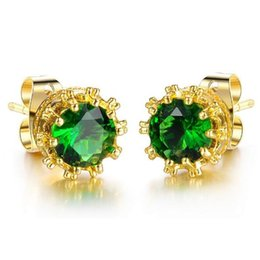 Wholesale Low Price Gold Earrings - Vintage Cute Women Stud Earrings Fashion Retro 18K Gold Plated Green White Cubic Zircon Crystal Wedding Jewelry Low Price