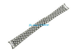 Wholesale End Brush - 13mm 17mm 20mm High Quality Silver stainless steel Polishing + Brushed Curved End Watch Band Bracelets For ROLWATCH