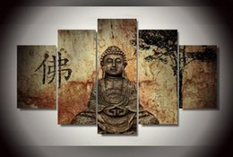Wholesale Nude Oil Painting Modern - 5Pcs With Framed Printed Buddha Group Painting on canvas room decoration print poster picture canvas framed modern abstract oil painting